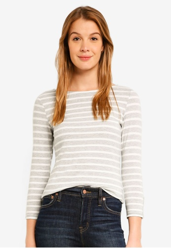 Dorothy Perkins 灰色 Grey Stripe 3/4 Top C5150AAE67D4AAGS_1