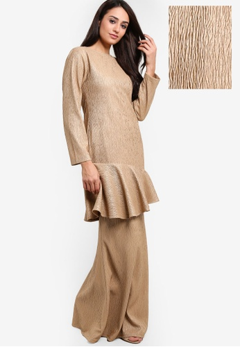Jacaranda Crimp Peplum Kurung from RekaReka in Brown