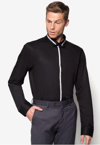 撞色開襟長袖襯衫, 服飾, 襯esprit台灣門市衫
