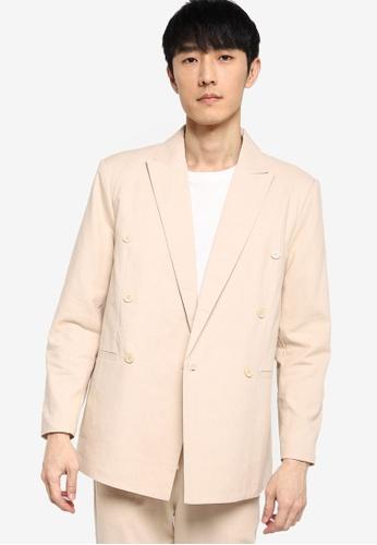 ZALORA BASICS beige Double Breasted Linen Jacket 72415AAFBB49C2GS_1