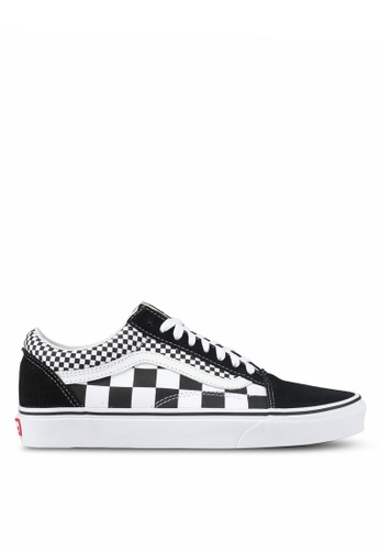 VANS black and white Old Skool Mix Checker Sneakers VA142SH0SWN9MY_1