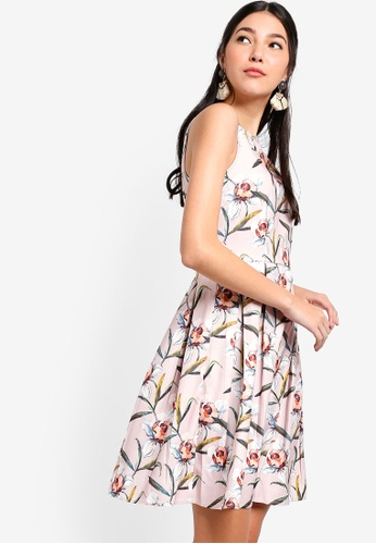 ZALORA pink and multi Fit And Flare Pleated Dress 10D68AAD947DC0GS_1