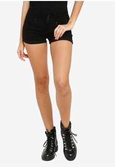 18652272df1c FOREVER 21 black Low-Rise Denim Shorts 59599AA3A89373GS_1