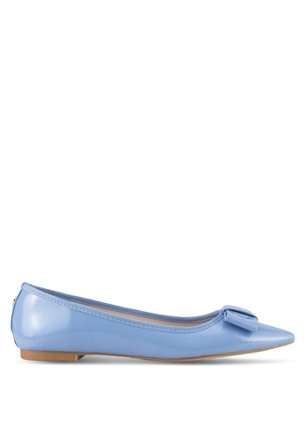 Velvet blue Faux Patent Leather Flats CF37ESH8398ABFGS_1