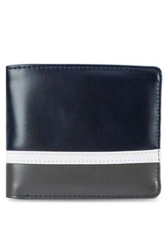 Striped Base Zip-Coin Bi-Fold Wallet