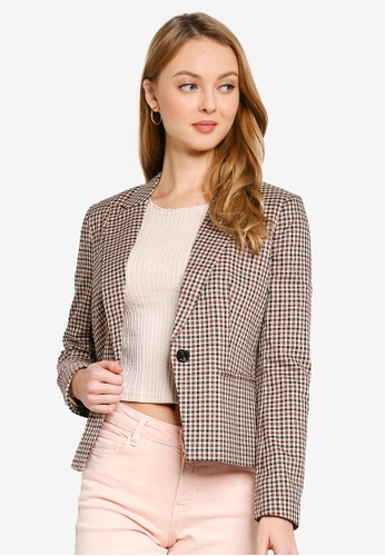 ONLY beige Dagmar-Olla Long Sleeve Check Blazer 73701AAB82AECFGS_1
