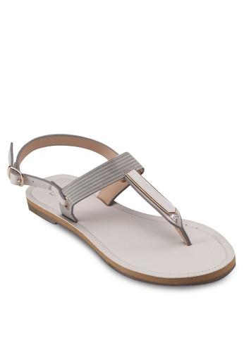 夾趾繞esprit旗艦店踝平底涼鞋, 女鞋, 涼鞋