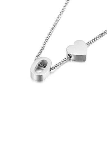 Glamorousky silver Simple and Fashion Heart-shaped English Alphabet O 316L Stainless Steel Pendant with Necklace 0E449AC1F1E728GS_1