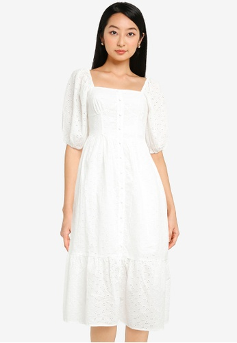 Urban Revivo white High Waist Puff Sleeve Dress F277AAA508B82EGS_1