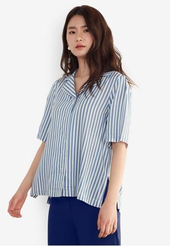 NAIN blue Striped Blouse D7714AA9B9B0CFGS_1