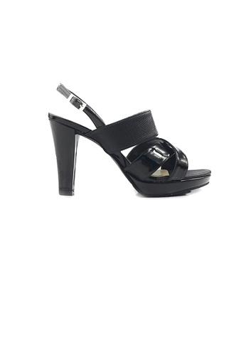SHINE black Cross strap Open Toe Slingback High Heels 6F174SH61734D1GS_1