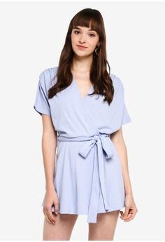 7d28e6e07f9436 Kitschen blue Sash Tie Wrap Knit Playsuit 90D88AA1335711GS 1