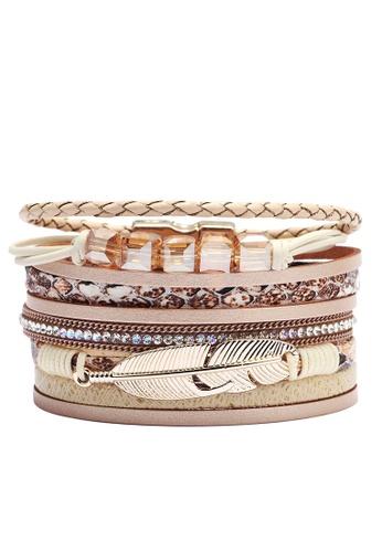 HAPPY FRIDAYS Rhinestone Feather Synthetic Leather Bracelet QNW2551 994ADAC4900366GS_1