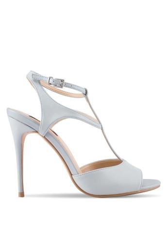 ZALORA grey T-Strapped Detail High Heels D93B0SH7D4E351GS_1