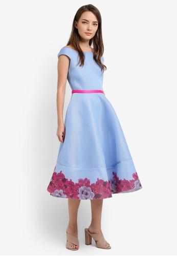 Megane blue Davaney Dress with Printed Hem ME617AA0RR2ZMY_1