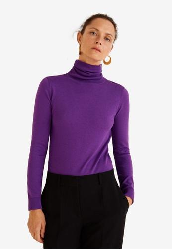 Mango purple Turtleneck Sweater 57A7FAA403C1F2GS_1