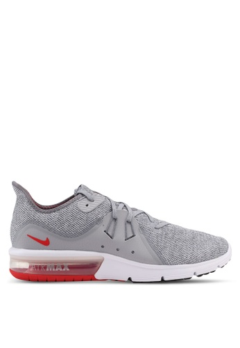 Nike grey and red Men's Nike Air Max Sequent 3 Running Shoes NI126SH0STRPMY_1