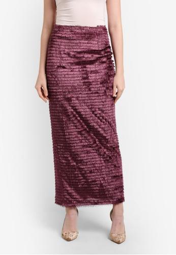Zalia red Fringe Straight Skirt 3FB6AAA2EC6165GS_1