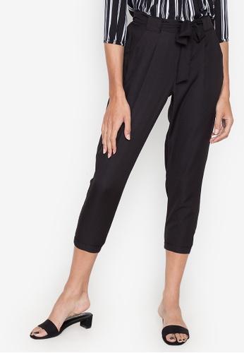 Seventh Cherie black Gartered Pants W/ Self Fabric Belt 28610AAFA2AED2GS_1
