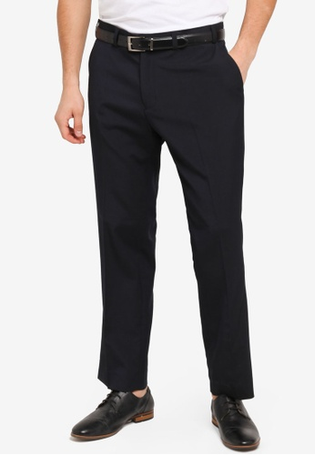 Burton Menswear London navy Navy Stretch Slim Fit Trousers BU964AA0T1H0MY_1