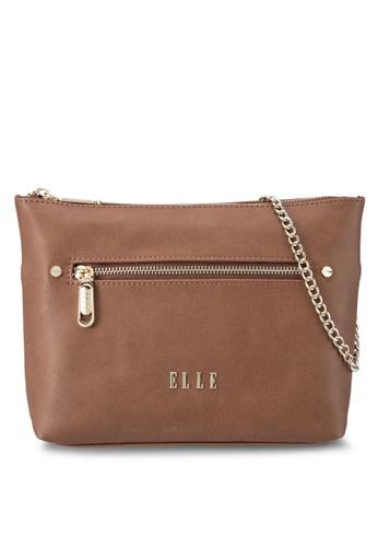 ELLE brown Adelise Shoulder Bag EL900AC95VXOMY_1