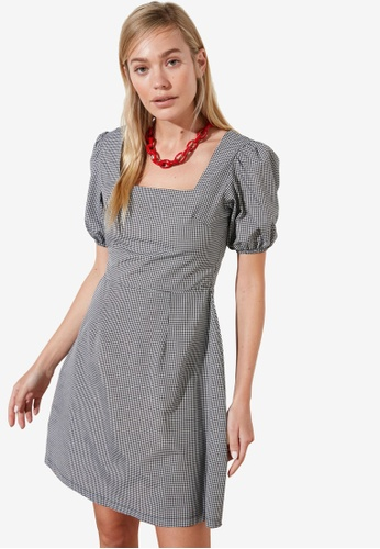 Trendyol black Puff Sleeve Square Neck Dress B30F8AAA39F1D1GS_1