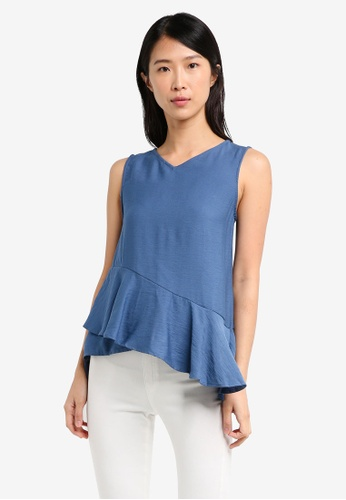 ELLYSAGE blue Textured Drape Hem Top 9613DUS9302993GS_1