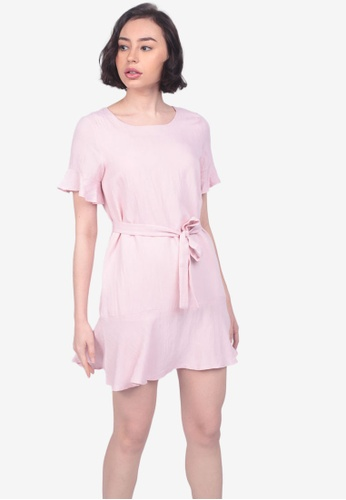 Caoros pink Bow Tie Ruffled Dress EB68EAA685E12DGS_1