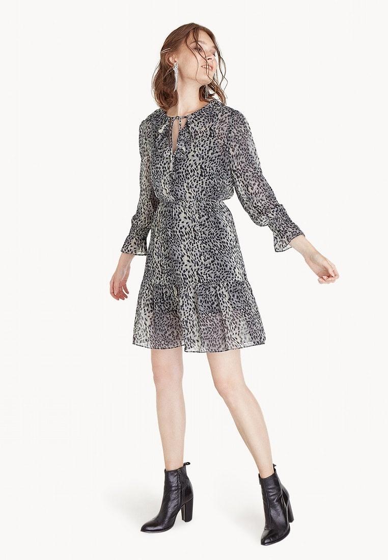 Dress Pomelo Ruffled Leopard Victorian Black 8EwqxHgAg