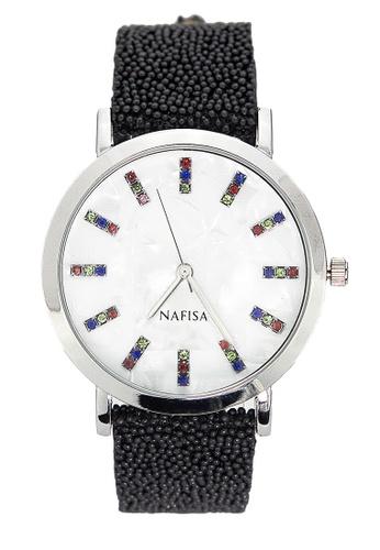 Chronomart black and silver Nafisa Women's Round Marbleized/Rhinestone Dial Analog Watch CH783AC24KILPH_1