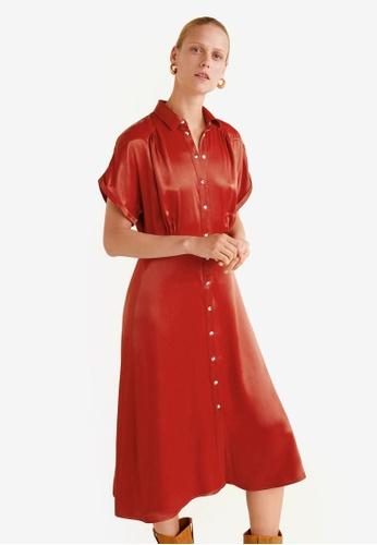 Mango 紅色 綢緞洋裝 94DFBAA47BE629GS_1
