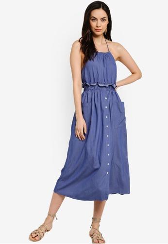 Tula Cruz blue Button Down Halter Neck Midi Dress DD7EEAACB32551GS_1