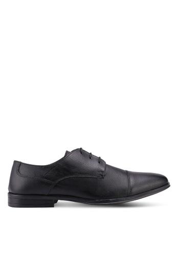 Burton Menswear London black Black Leather Derby Shoes F6FA2SH5CCB205GS_1
