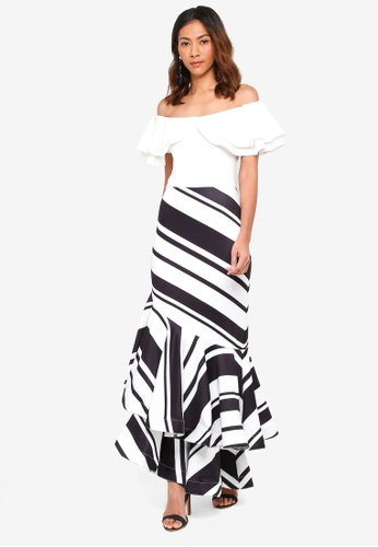 bYSI white Stripe Flutter Tiered Dress A88BDAABDA2566GS_1