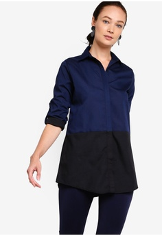 975d8efd64a8 ZALIA BASICS black and navy Panel Long Shirt FE0D0AACAD8576GS_1
