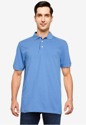French Connection blue Organic Classic Pique Polo Shirt A2834AAC70DC5EGS_1