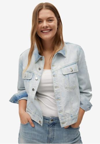 Violeta by MANGO blue Plus Size Vintage-Wash Denim Jacket FF807AA93BC0B8GS_1