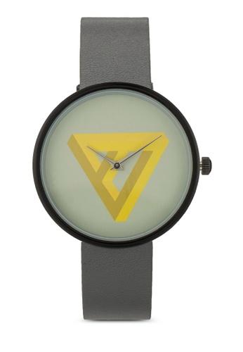 ZALORA black and grey Minimalist Prism Graphic Print Watch ANTFUAC0000017GS_1
