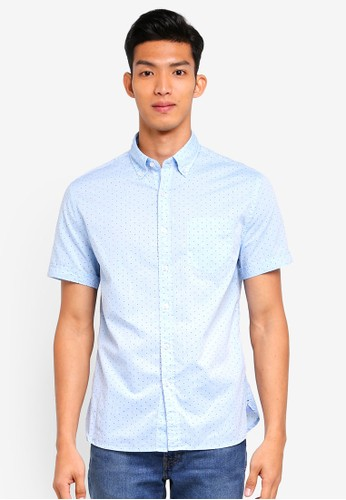 MANGO Man blue Regular-Fit Micro Print Shirt B3F5AAA0A26D44GS_1