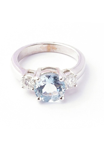 CEBUANA LHUILLIER JEWELRY gold 18 Karat White Gold with Diamonds and Birthstone Lady Ring B9829ACDE2FA9FGS_1