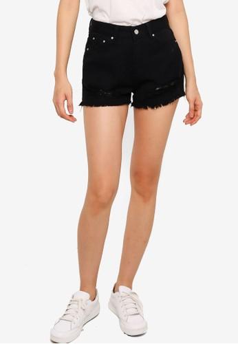 ZALORA BASICS black Distressed Denim Shorts 64BAAAA2095123GS_1