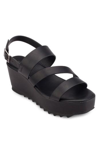 多帶厚底楔型跟涼esprit causeway bay鞋, 女鞋, 鞋
