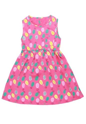 POP Shop pink Girls' Pineapple All-over Print Sleeveless Dress A5457KA232DA66GS_1