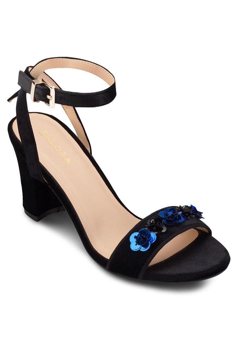 Flower Sequin Heel Sandals