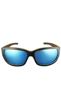 Black Bamboo Frame, Silver Blue Metallic Lens Wooden Sports Sunglasses