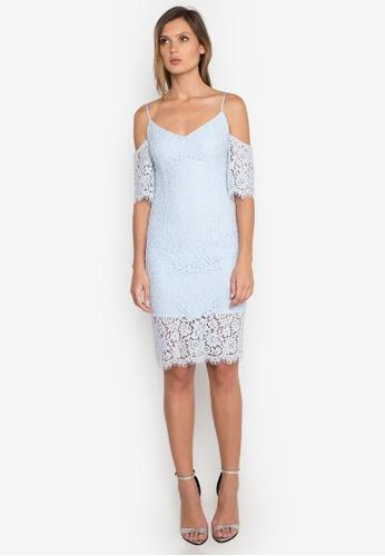 NOBASIC blue Off Shoulder Lace Dress NO444AA0FQHWSG_1