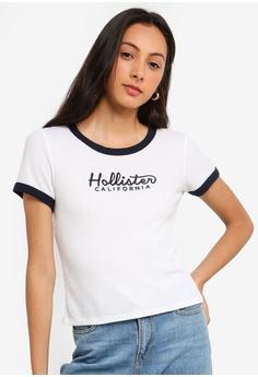 6788566ebb5923 Hollister white Short Sleeve Crop T-Shirt 9D2AEAA8715758GS 1