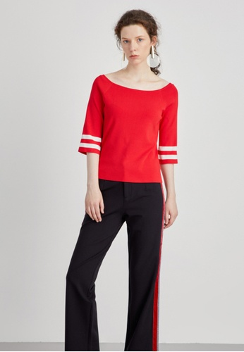 Hopeshow red Mid Sleeve Wide Collar Knitted Blouse 1FEE7AA6658361GS_1