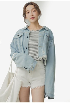 025e00dd1f248 Eyescream blue Ripped Crop Denim Jacket ECE38AAB6C2871GS 1