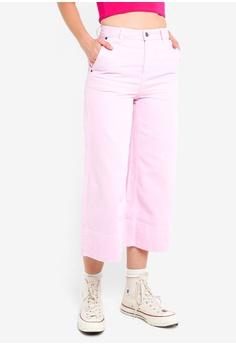 c59e65bfa2ac TOPSHOP pink Moto Striped Cropped Wide Leg Jeans 7D923AA0006823GS 1